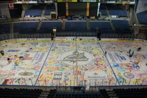 "The ECHL's Stockton Thunder received National Attention for their ""We Paint The Ice Night"".  The team actually played on this ice surface."